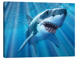 Canvas  A Great White Shark with sunrays just below the surface. - Jerry LoFaro