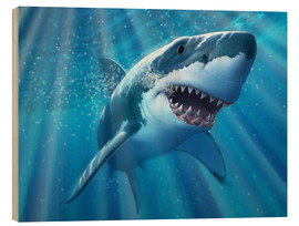 Wood print  A Great White Shark with sunrays just below the surface. - Jerry LoFaro