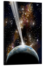 Acrylic print  An Earth-like planet facing an imminent collision with a comet. - Marc Ward