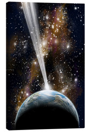 Canvas print  An Earth-like planet facing an imminent collision with a comet. - Marc Ward