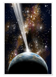 Premium poster An Earth-like planet facing an imminent collision with a comet.