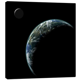 Canvas  An Earth-like planet with an orbiting moon illuminated by a nearby sun. - Marc Ward