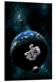 Acrylic print  An astronaut floating in front of a water covered world with two moons. - Marc Ward
