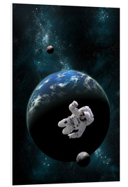 Foam board print  An astronaut floating in front of a water covered world with two moons. - Marc Ward