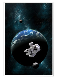 Premium poster  An astronaut floating in front of a water covered world with two moons. - Marc Ward