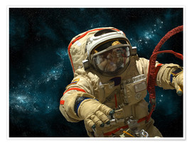 Premium poster A cosmonaut against a background of stars.