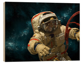 Wood print  A cosmonaut against a background of stars. - Marc Ward