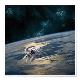 Premium poster An astronaut floating above Earth.
