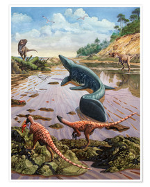 Premium poster Raptors attack a vulnerable Mosasaurus that remained aground at low tide.