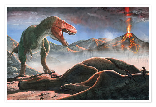 Premium poster A volcanic eruption destroys the hunting grounds of Tyrannosaurus Rex.