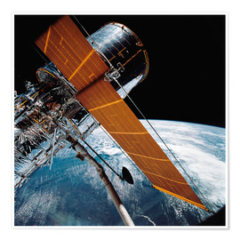 Premium poster  The Hubble Space Telescope backdropped by planet Earth.