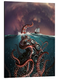 Aluminium print  A fantastical depiction of the legendary Kraken. - Jerry LoFaro