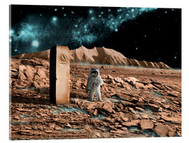 Acrylic print  Astronaut on an alien world discovers an artifact that indicates past intelligent life. - Marc Ward