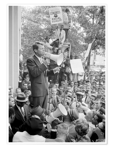 Premium poster Robert F. Kennedy talks about equal rights to a crowd