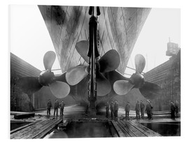 Foam board print  Shipyard workers with the Titanic - John Parrot