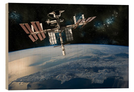 Wood print  Space Shuttle at International Space Station - Marc Ward
