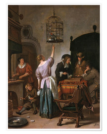 Premium poster  Room with a woman and a parrot - Jan Havicksz. Steen