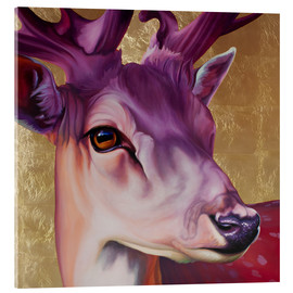 Acrylic glass  Deer pink gold - Renate Berghaus
