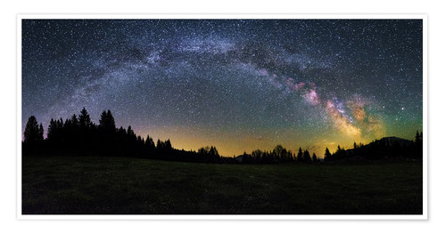 Premium poster Milky Way arching over the trees