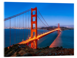 Acrylic print  Night shot of the Golden Gate Bridge in San Francisco California, USA - Jan Christopher Becke