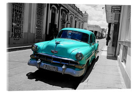 Acrylic print  Colorspot - classic cars in the streets of Santa Clara, Cuba - HADYPHOTO by Hady Khandani