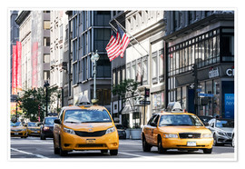 Premium poster Yellow cabs (taxis) on the 5th avenue, New York city, USA