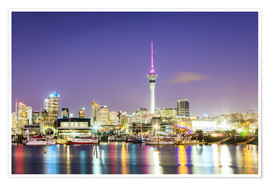 Premium poster  Auckland harbour and skyline at night, New Zealand - Matteo Colombo