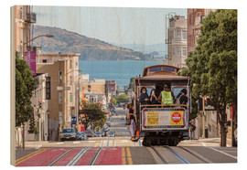 Wood print  Cable car on a hill in the streets of San Francisco, California, USA - Matteo Colombo