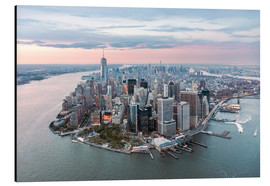 Alu-Dibond  Aerial view of lower Manhattan with One World Trade Center at sunset, New York city, USA - Matteo Colombo