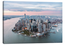 Canvas  Aerial view of lower Manhattan with One World Trade Center at sunset, New York city, USA - Matteo Colombo