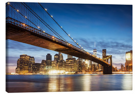 Canvas print  Brooklyn bridge and Manhattan at night, New York city, USA - Matteo Colombo