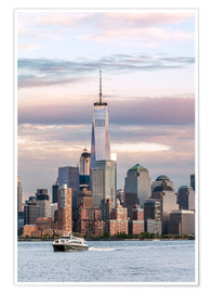 Premium poster  World trade center and Manhattan skyline at sunset, New York city, USA - Matteo Colombo