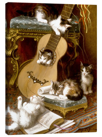 Canvas  Kittens at play with a guitar - Jules Le Roy