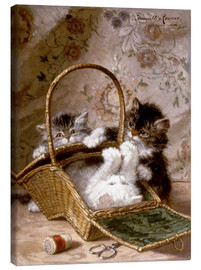 Canvas print  Young cats with a sewing basket - Henriette Ronner-Knip