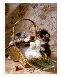 Premium poster Young cats with a sewing basket