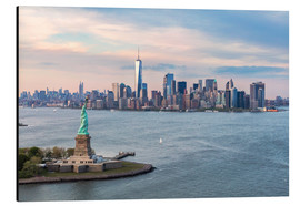 Aluminium print  Aerial view of Statue of Liberty and World Trade Center at sunset, New York city, USA - Matteo Colombo