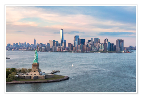 Premium poster Statue of Liberty and World Trade Center, New York City