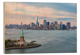 Wood print  Aerial view of Statue of Liberty and World Trade Center at sunset, New York city, USA - Matteo Colombo