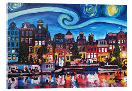 Acrylic glass  Starry Night over Amsterdam Canal, Van Gogh Inspiration - M. Bleichner