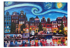 Aluminium print  Starry Night over Amsterdam Canal, Van Gogh Inspiration - M. Bleichner