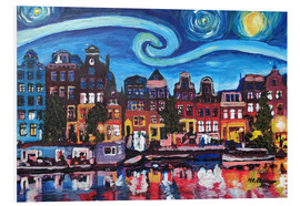 Foam board print  Starry Night over Amsterdam Canal, Van Gogh Inspiration - M. Bleichner