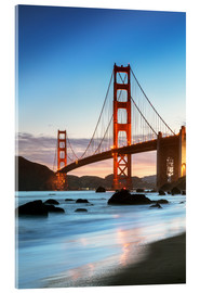 Acrylic print  Golden gate bridge at dawn from Baker beach, San Francisco, California, USA - Matteo Colombo