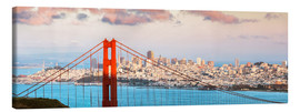 Canvas print  Panoramic sunset over Golden gate bridge and San Francisco bay, California, USA - Matteo Colombo