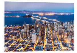 Acrylic glass  Aerial view of San Francisco downtown with Bay bridge at night, California, USA - Matteo Colombo