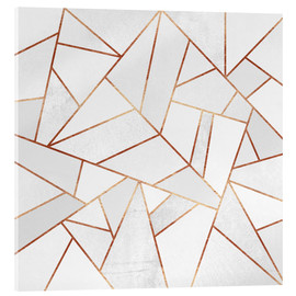 Acrylic print  White Stone and copper Lines - Elisabeth Fredriksson