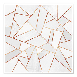 Premium poster White Stone and copper Lines