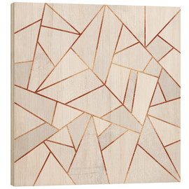 Wood print  White Stone and copper Lines - Elisabeth Fredriksson