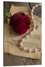Aluminium print  Red rose, pearls and letter - Jaroslaw Blaminsky