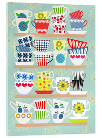 Acrylic print  Shelf with Scandinavian cups - Elisandra Sevenstar