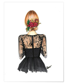Premium poster  Black Lace and Rose - Rongrong DeVoe